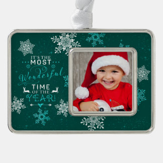 Green Family Photo Christmas Most Wonderful Time Silver Plated Framed Ornament
