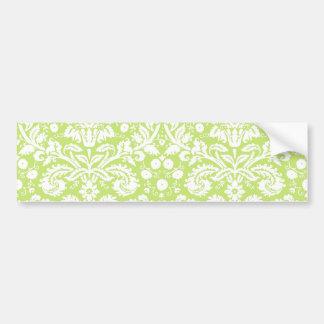 Green fancy damask pattern bumper sticker