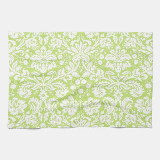 Green fancy damask pattern tea towel