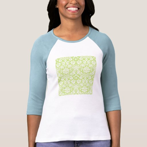 Green fancy damask pattern tee shirt