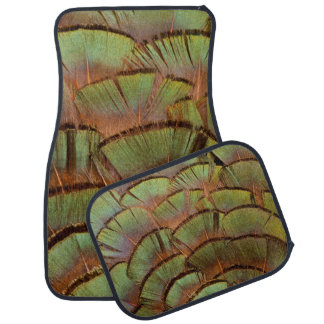 Green fanned Pheasant feather Car Mat