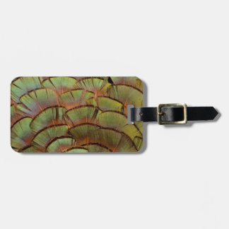 Green fanned Pheasant feather Luggage Tag