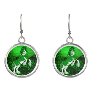 Green Fantasy Clydesdale Horse Clover Earrings