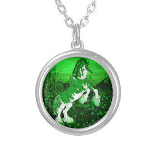 Green Fantasy Clydesdale Horse Clover Silver Plated Necklace