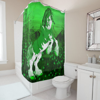 Green Fantasy Clydesdale Horse Shower Curtain