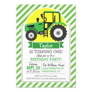 Green Farm Tractor with Yellow;  Green & White 13 Cm X 18 Cm Invitation Card