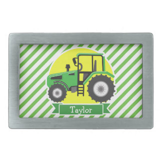 Green Farm Tractor with Yellow;  Green & White Belt Buckle