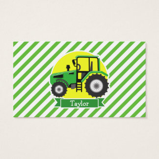 Green Farm Tractor with Yellow;  Green & White Business Card