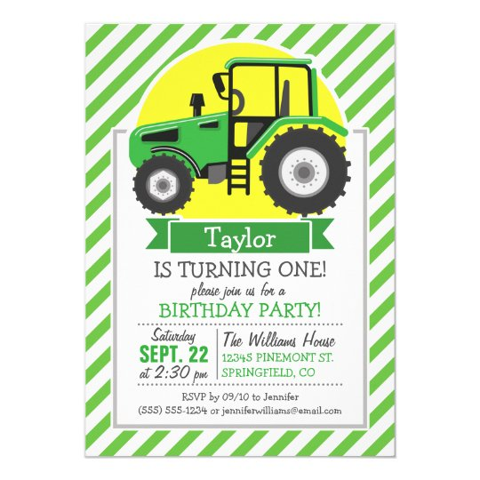 Green Farm Tractor with Yellow; Green & White