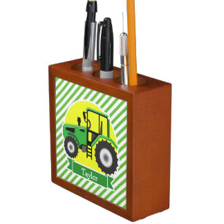 Green Farm Tractor with Yellow;  Green & White Desk Organiser