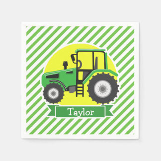 Green Farm Tractor with Yellow;  Green & White Disposable Serviette
