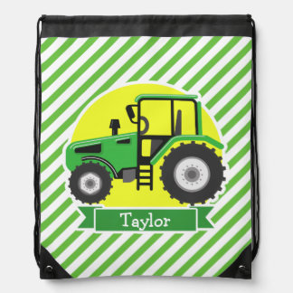 Green Farm Tractor with Yellow;  Green & White Drawstring Bag