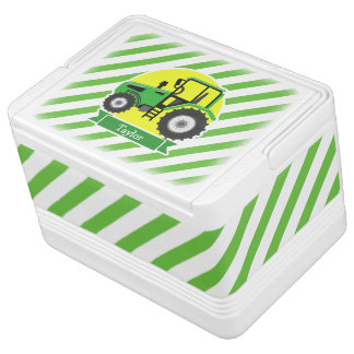 Green Farm Tractor with Yellow;  Green & White Igloo Cooler