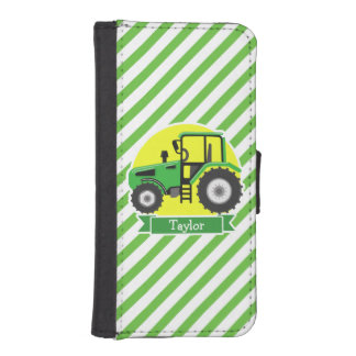 Green Farm Tractor with Yellow;  Green & White iPhone SE/5/5s Wallet Case