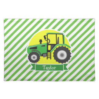 Green Farm Tractor with Yellow;  Green & White Placemat