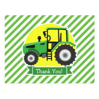 Green Farm Tractor with Yellow;  Green & White Post Card