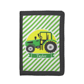 Green Farm Tractor with Yellow;  Green & White Tri-fold Wallets