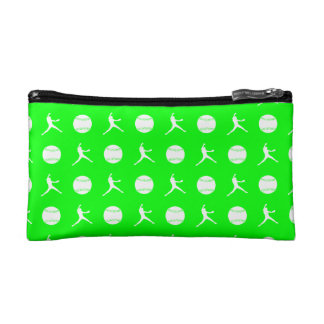 Green Fastpitch Pattern Clutch Makeup Bags