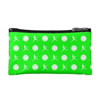 Green Fastpitch Pattern Clutch Makeup Bags