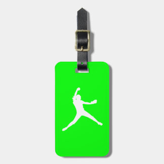 Green Fastpitch Silhouette Luggage Tag