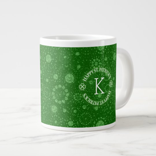Green Faux Glitter Circles Geometric Pattern Giant Coffee Mug