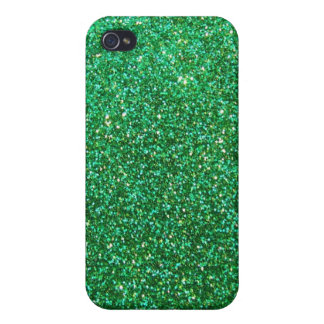 Green faux glitter graphic cover for iPhone 4