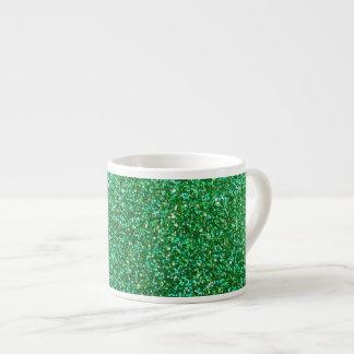 Green faux glitter graphic espresso cup