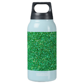 Green faux glitter graphic insulated water bottle
