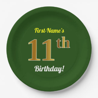 Green, Faux Gold 11th Birthday + Custom Name Paper Plate