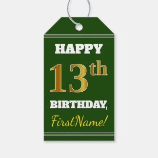 Green, Faux Gold 13th Birthday + Custom Name Gift Tags