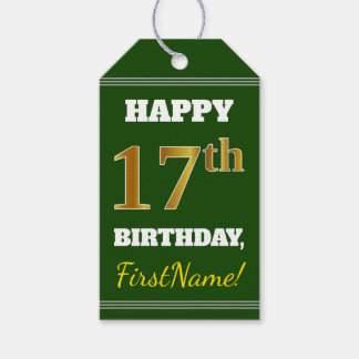 Green, Faux Gold 17th Birthday + Custom Name Gift Tags