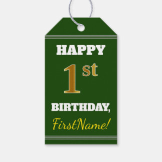 Green, Faux Gold 1st Birthday + Custom Name Gift Tags