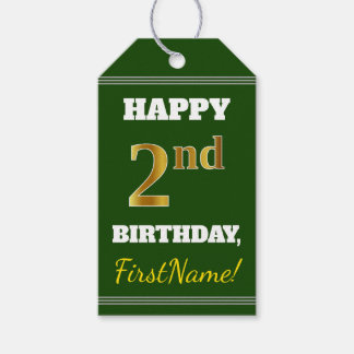 Green, Faux Gold 2nd Birthday + Custom Name Gift Tags