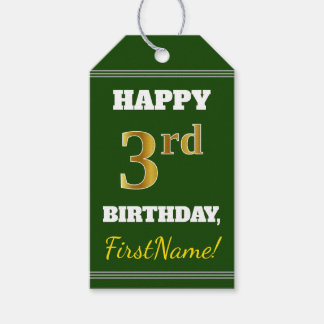 Green, Faux Gold 3rd Birthday + Custom Name Gift Tags
