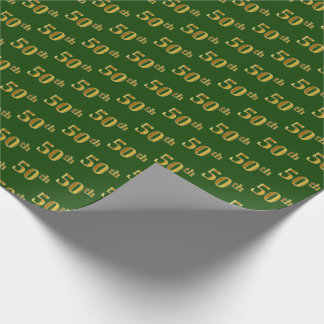 Green, Faux Gold 50th (Fiftieth) Event Wrapping Paper