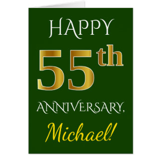 Green, Faux Gold 55th Wedding Anniversary + Name Card