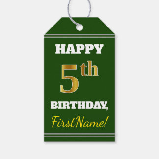 Green, Faux Gold 5th Birthday + Custom Name Gift Tags