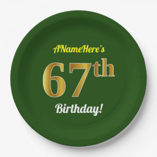 Green, Faux Gold 67th Birthday + Custom Name Paper Plate