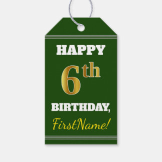 Green, Faux Gold 6th Birthday + Custom Name Gift Tags