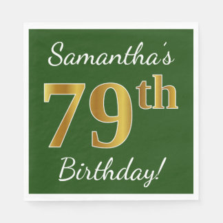 Green, Faux Gold 79th Birthday + Custom Name Paper Napkin