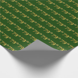Green, Faux Gold 79th (Seventy-Ninth) Event Wrapping Paper
