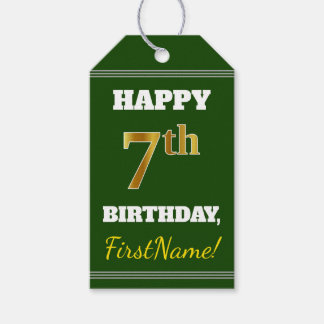 Green, Faux Gold 7th Birthday + Custom Name Gift Tags