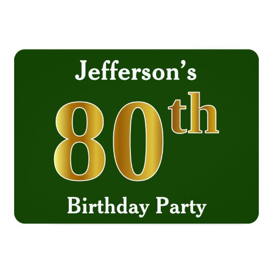 Green, Faux Gold 80th Birthday Party + Custom