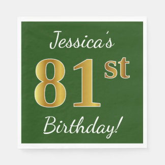 Green, Faux Gold 81st Birthday + Custom Name Disposable Napkins
