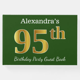 Green, Faux Gold 95th Birthday Party + Custom Name Guest Book