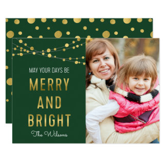 Green, Faux Gold Merry & Bright Lights Photo Card