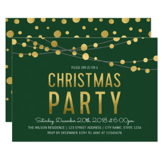 Green Faux Gold Strings of Lights Christmas Party Card