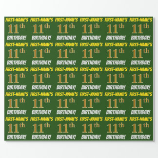 """Green, Faux/Imitation Gold, """"11th BIRTHDAY"""" Wrapping Paper"""