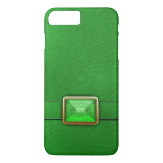 Green Faux Leather And Gemstone Phone Case
