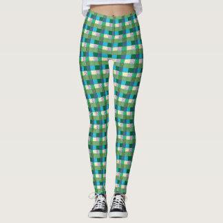 Green Faux Quilt Print Leggings